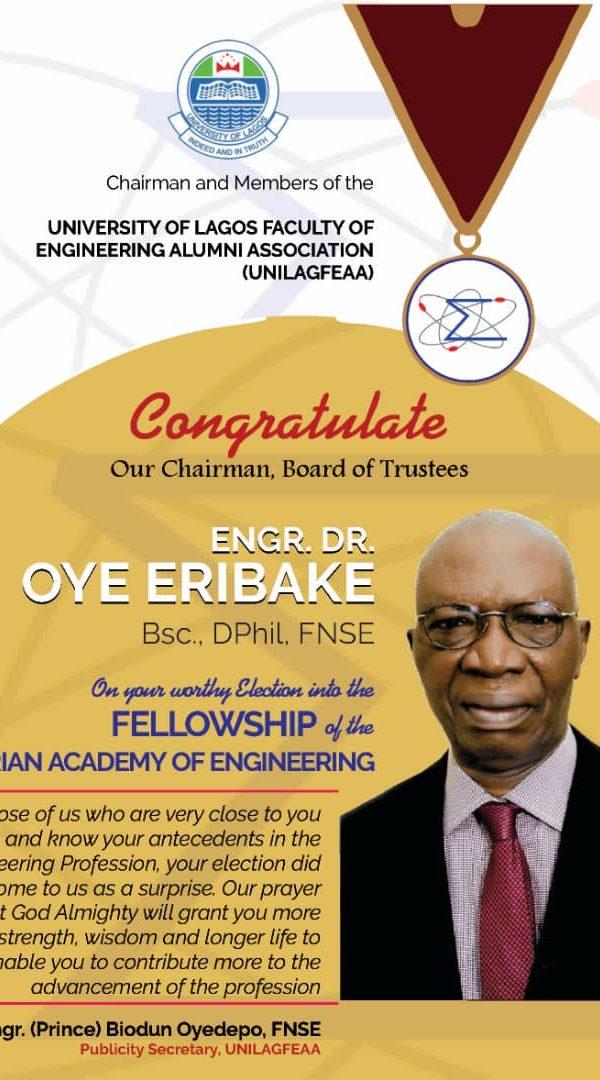 Engr Dr Oye Eribake Elected into Nigeria Academy of Engineering 2019